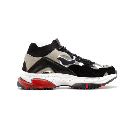 Canal Sneaker // Black + Gray Camo + Red (US: 7.5)