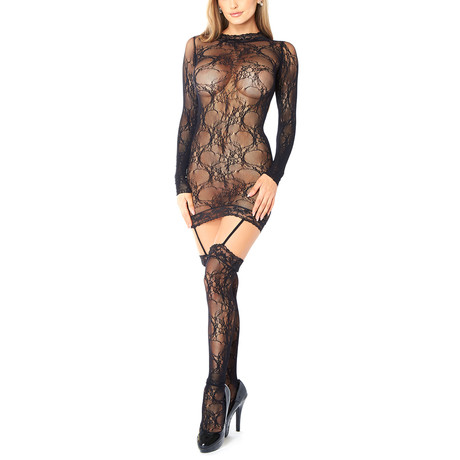 Full Sleeve Lace Bodysuit // Black