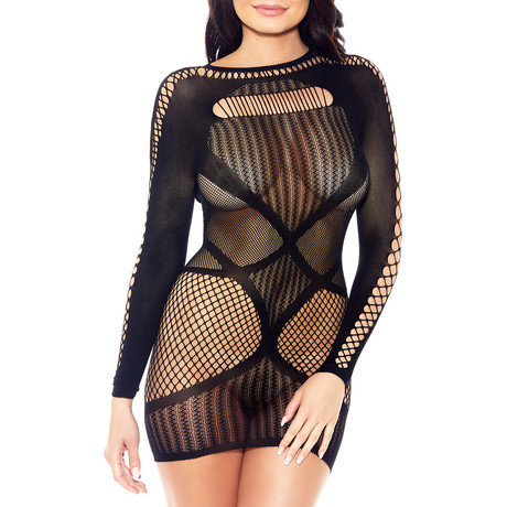 Long Sleeve High Neck Hosiery Chemise // Black