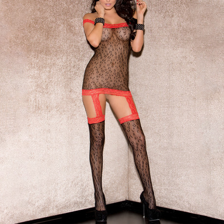 Tube Animal Print Bodystocking // Red + Black