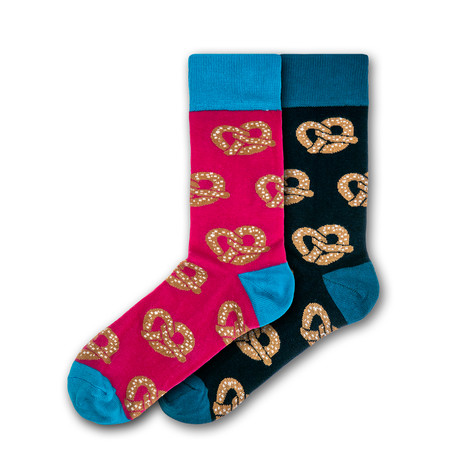 Men's Regular Socks Bundle // Blue + Black + Pink // 2 Pairs