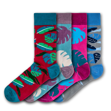 Unisex Regular Socks Bundle // Blue + Red + Pink // 4 Pairs