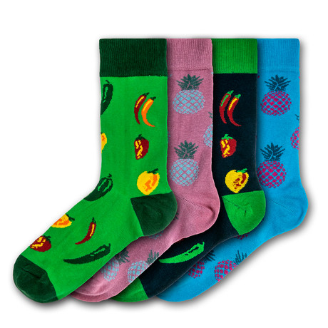Unisex Regular Socks Bundle // Green + Pink + Blue // 4 Pairs