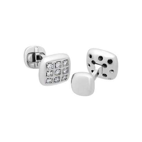 Leo Pizzo 18k White Gold Diamond Cufflinks // Pre-Owned
