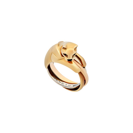 Cartier 18k Three-Tone Gold Emerald Eyes + Onyx Nose Panther Ring // Ring Size: 4.5 // Pre-Owned