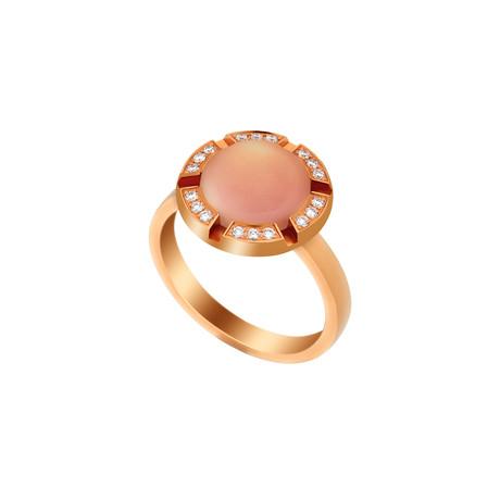 Chaumet 18k Rose Gold Rose Quartz + Diamond Ring // Ring Size: 5.25 // Pre-Owned