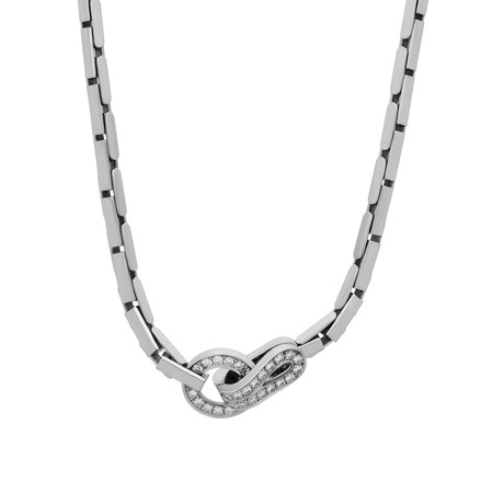 Cartier 18k White Gold Agrafe Diamond Necklace // Pre-Owned
