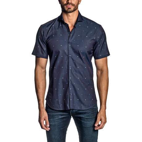 Floral Jacquard Short Sleeve Button-Up Shirt // Navy (S)