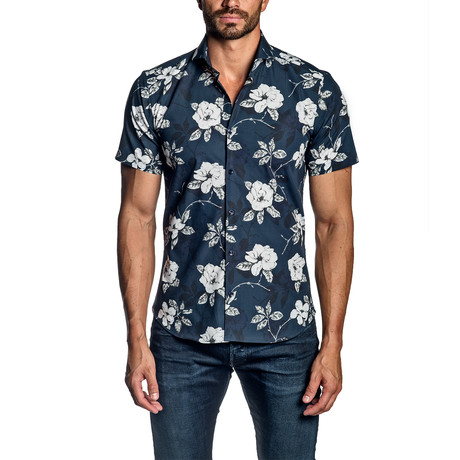 Floral Short Sleeve Button-Up Shirt I // Navy (S)