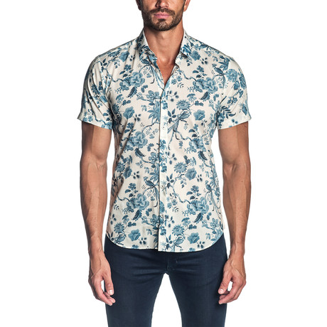 Floral Short Sleeve Button-Up Shirt // Off White + Blue (S)