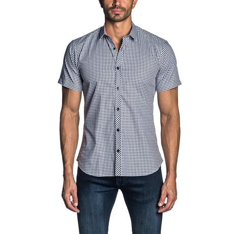 Gingham Short Sleeve Button-Up Shirt // Black (S)
