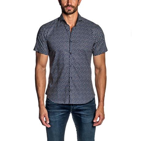 Dice Short Sleeve Button-Up Shirt // Navy (S)