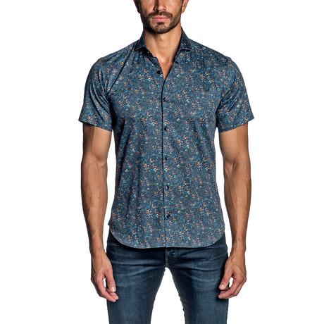 Floral Short Sleeve Button-Up Shirt III // Navy (S)