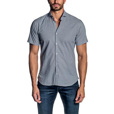 Xo Short Sleeve Button-Up Shirt // White + Blue (S)