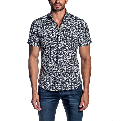 Floral Short Sleeve Button-Up Shirt // Black + White (S)