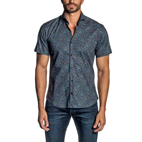 Micro Floral Short Sleeve Button-Up Shirt // Navy (S)