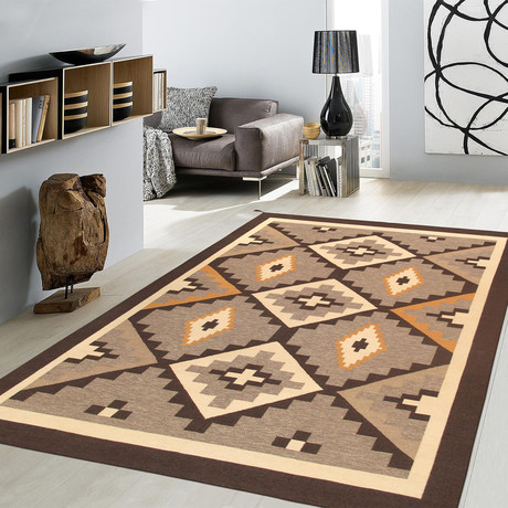 Navajo Style Hand-Woven Wool Area Rug // V11