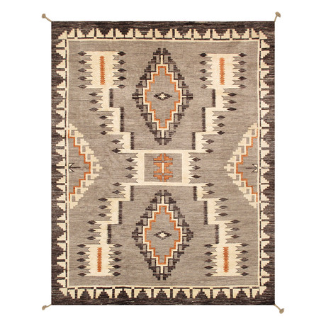Navajo Style Hand-Woven Wool Area Rug // V42