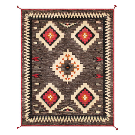 Navajo Style Hand-Woven Wool Area Rug // V40