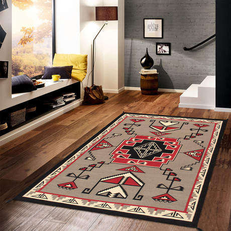 Navajo Style Hand-Woven Wool Area Rug // V45