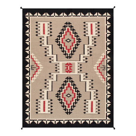 Navajo Style Hand-Woven Wool Area Rug // V49