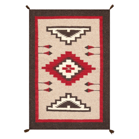 Navajo Style Hand-Woven Wool Area Rug // V38