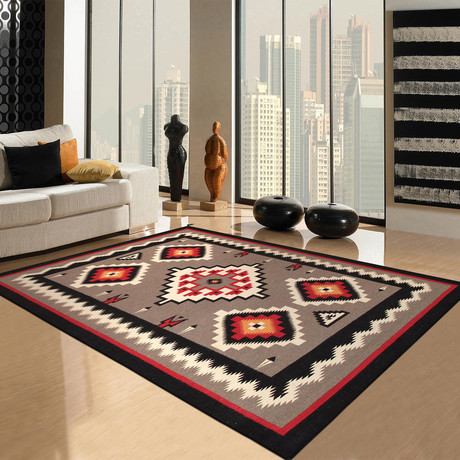 "Navajo Style Hand-Woven Wool Area Rug // V8 (8'1"" x 9'10"")"