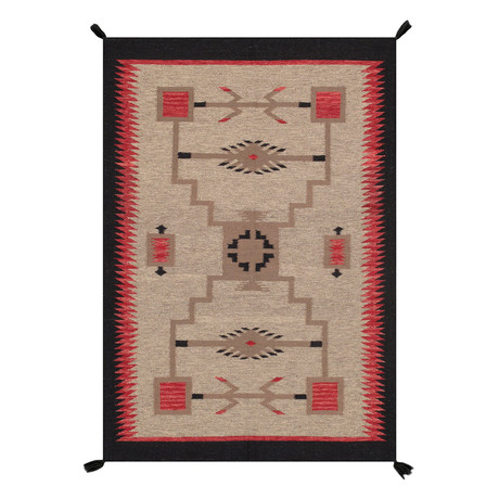 Navajo Style Hand-Woven Wool Area Rug // V33