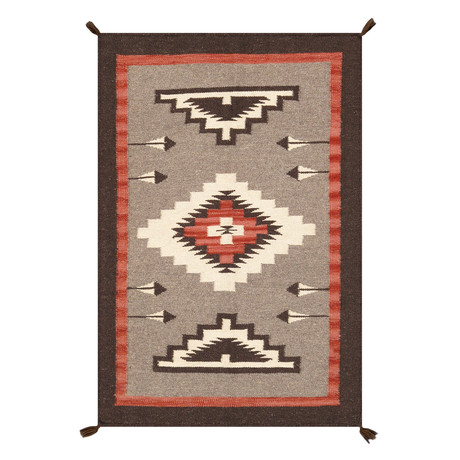 Navajo Style Hand-Woven Wool Area Rug // V30