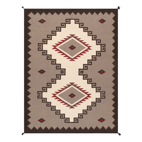 Navajo Style Hand-Woven Wool Area Rug // V13