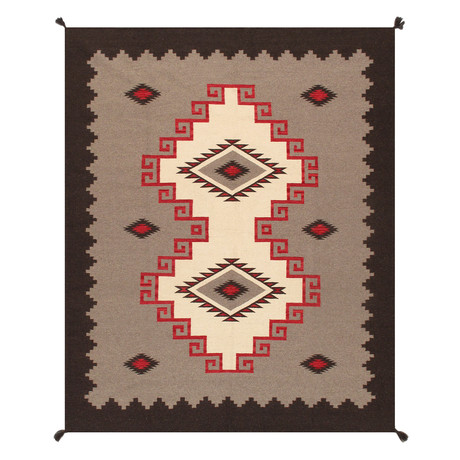 Navajo Style Hand-Woven Wool Area Rug // V19