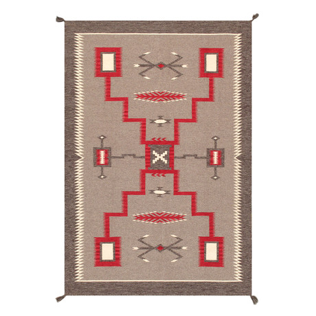 Navajo Style Hand-Woven Wool Area Rug // V23