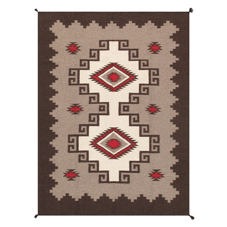 "Navajo Style Hand-Woven Wool Area Rug // V21 (3'10"" x 6')"