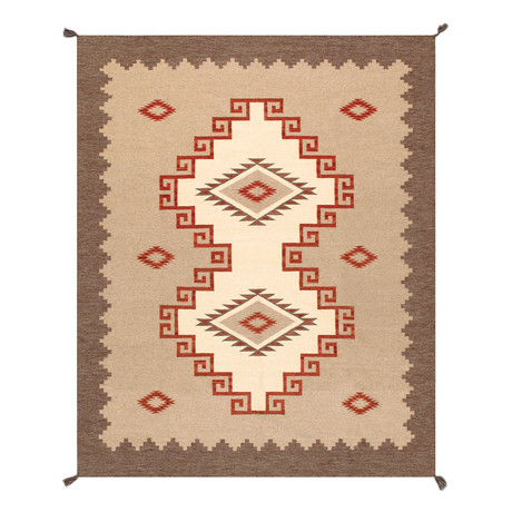 Navajo Style Hand-Woven Wool Area Rug // V20