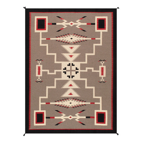 Navajo Style Hand-Woven Wool Area Rug // V44
