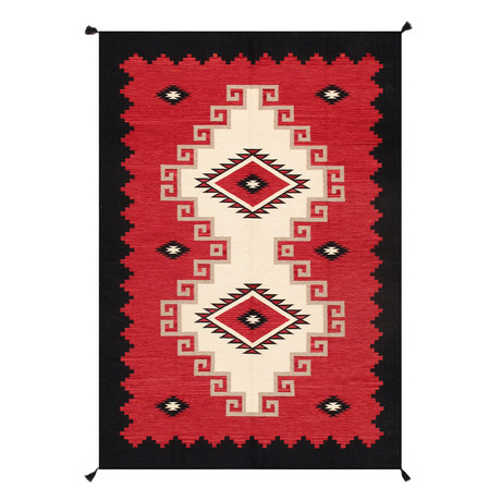 Navajo Style Hand-Woven Wool Area Rug // V16