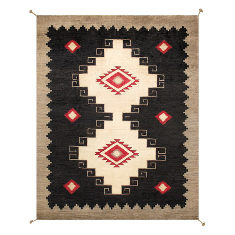 Navajo Style Hand-Woven Wool Area Rug // V41