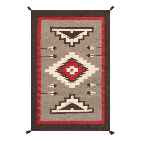 Navajo Style Hand-Woven Wool Area Rug // V28