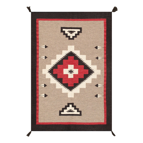 Navajo Style Hand-Woven Wool Area Rug // V26 (3' x 5')