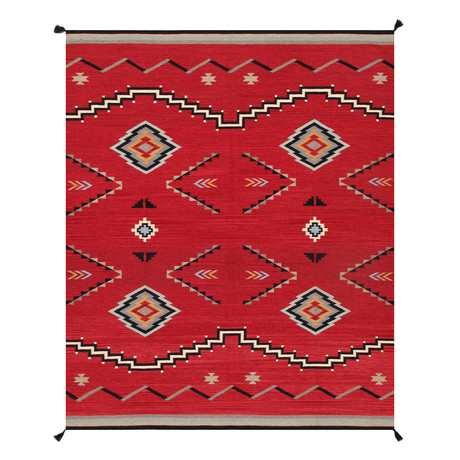 Navajo Style Hand-Woven Wool Area Rug // V17
