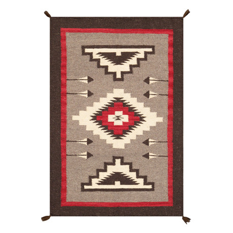 Navajo Style Hand-Woven Wool Area Rug // V36