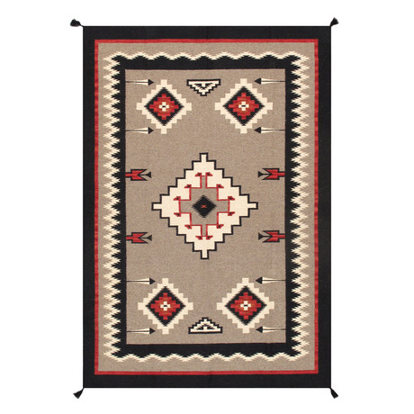 Navajo Style Hand-Woven Wool Area Rug // V22