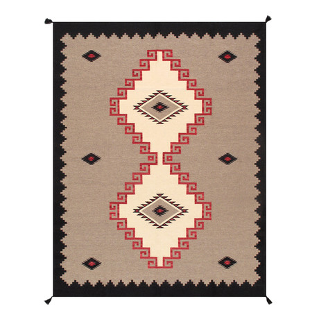 Navajo Style Hand-Woven Wool Area Rug // V12