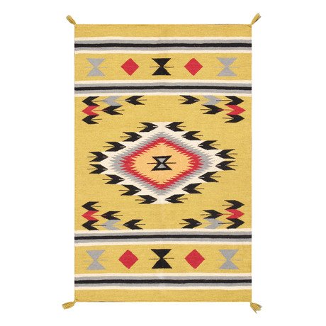 Navajo Style Hand-Woven Wool Area Rug // V27