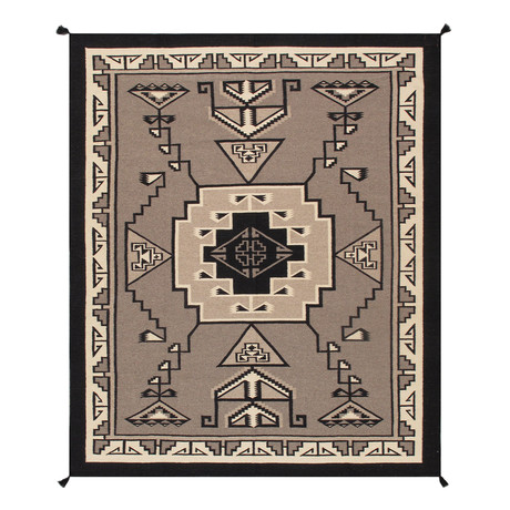 Navajo Style Hand-Woven Wool Area Rug // V18
