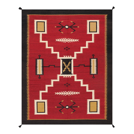 Navajo Style Hand-Woven Wool Area Rug // V7