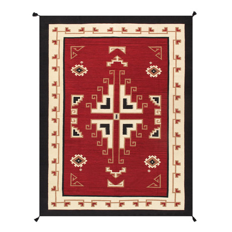 Navajo Style Hand-Woven Wool Area Rug // V15