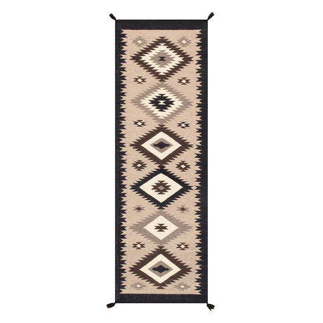 Navajo Style Hand-Woven Wool Area Rug // V39