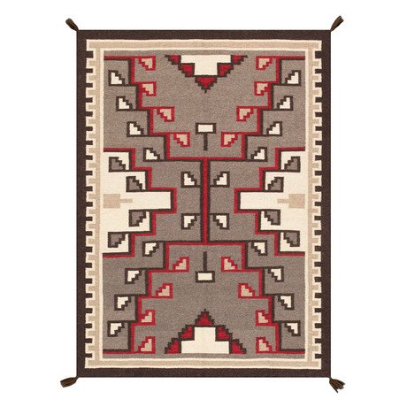 Navajo Style Hand-Woven Wool Area Rug // V43