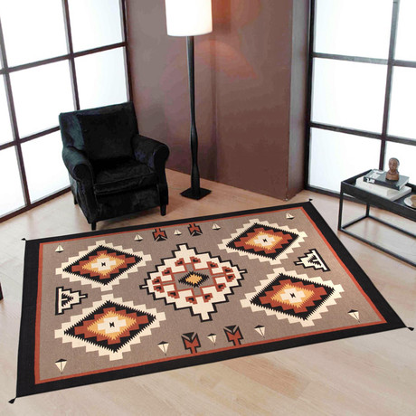 Navajo Style Hand-Woven Lamb's Wool Area Rug // V5